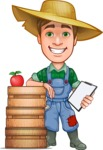 Funny Farm Man Vector Cartoon Character AKA Connor as Mr. Handsome - With Notepad and Farm Boxes