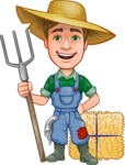Funny Farm Man Vector Cartoon Character AKA Connor as Mr. Handsome - With Pitchfork