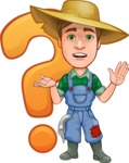 Funny Farm Man Vector Cartoon Character AKA Connor as Mr. Handsome - With Question Mark