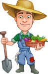Funny Farm Man Vector Cartoon Character AKA Connor as Mr. Handsome - With Shovel and Vegetables