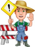 Funny Farm Man Vector Cartoon Character AKA Connor as Mr. Handsome - With Stop Sign and Warning Signs