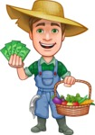 Funny Farm Man Vector Cartoon Character AKA Connor as Mr. Handsome - With Vegetables and Money Profit