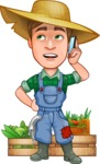 Funny Farm Man Vector Cartoon Character AKA Connor as Mr. Handsome - With Vegetables and Talking on Mobile Phone