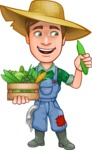 Funny Farm Man Vector Cartoon Character AKA Connor as Mr. Handsome - With Vegetables Box