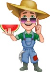 Funny Farm Man Vector Cartoon Character AKA Connor as Mr. Handsome - With Watermelon