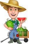 Funny Farm Man Vector Cartoon Character AKA Connor as Mr. Handsome - With Watermelons