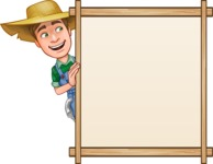 Funny Farm Man Vector Cartoon Character AKA Connor as Mr. Handsome - With Whiteboard and Smiling