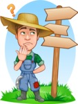 Funny Farm Man Vector Cartoon Character AKA Connor as Mr. Handsome - Wondering Illustration with Sign