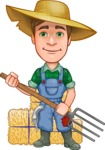 Funny Farm Man Vector Cartoon Character AKA Connor as Mr. Handsome - Working with Pitchfork