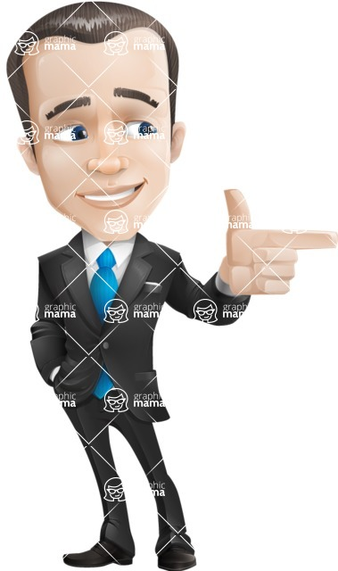 Vector Male Business Cartoon Character - Point 2