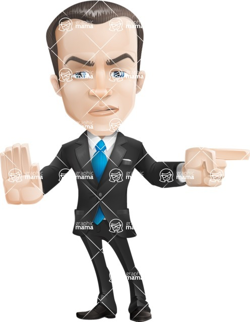Vector Male Business Cartoon Character - Direct Attention 2