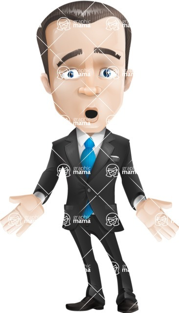 Vector Male Business Cartoon Character - Shocked