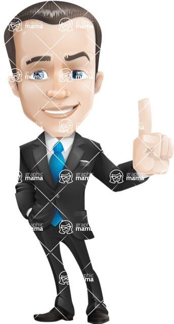 Vector Male Business Cartoon Character - Attention