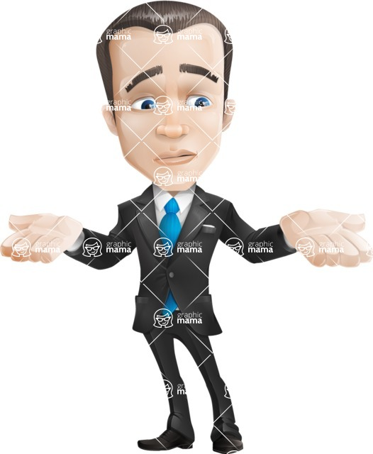 Vector Male Business Cartoon Character - Lost