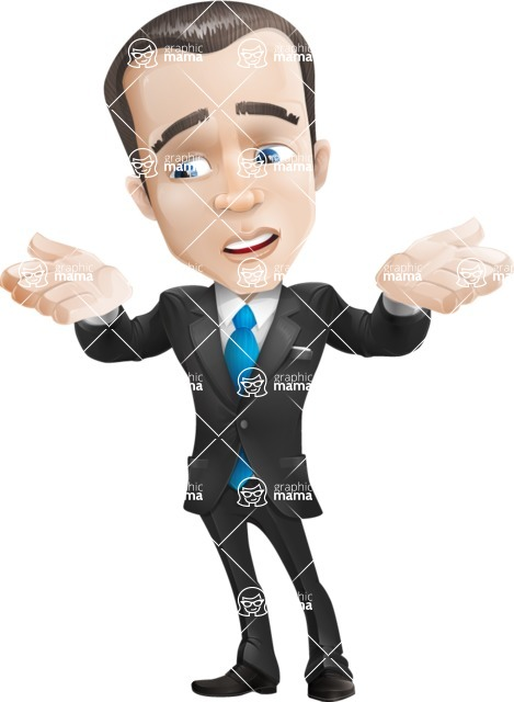 Vector Male Business Cartoon Character - Lost2