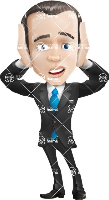 businessman vector cartoon character design modern look  - Confused