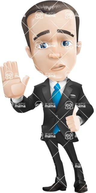 Vector Male Business Cartoon Character - Good Bye