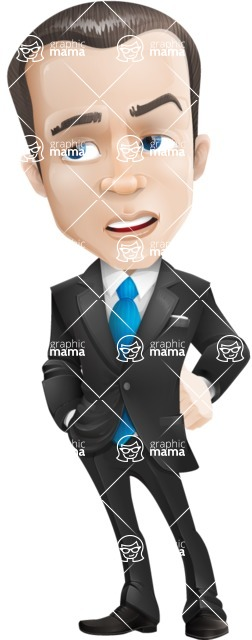 Vector Male Business Cartoon Character - Bored
