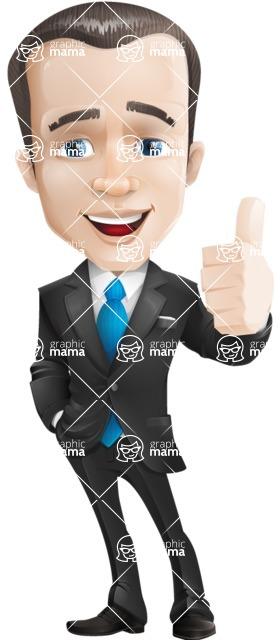 businessman vector cartoon character design modern look  - Thumbs Up