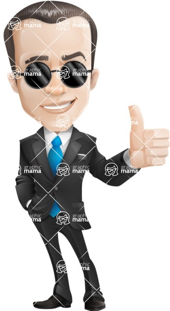businessman vector cartoon character design modern look  - Sunglasses