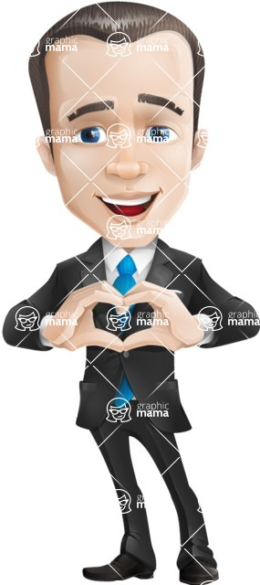 Vector Male Business Cartoon Character - Show Love