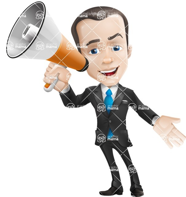 businessman vector cartoon character design modern look  - Loudspeaker