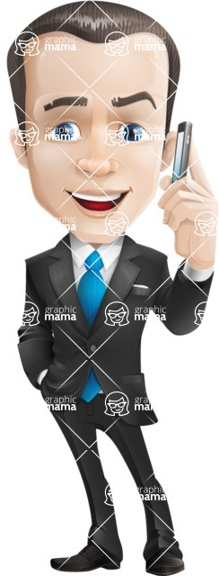 Vector Male Business Cartoon Character - Support