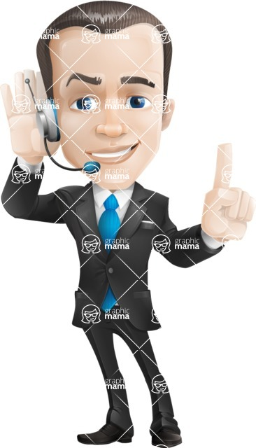 Vector Male Business Cartoon Character - Support2