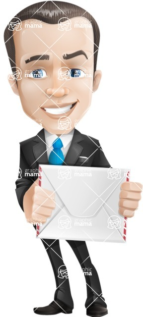 Vector Male Business Cartoon Character - Letter
