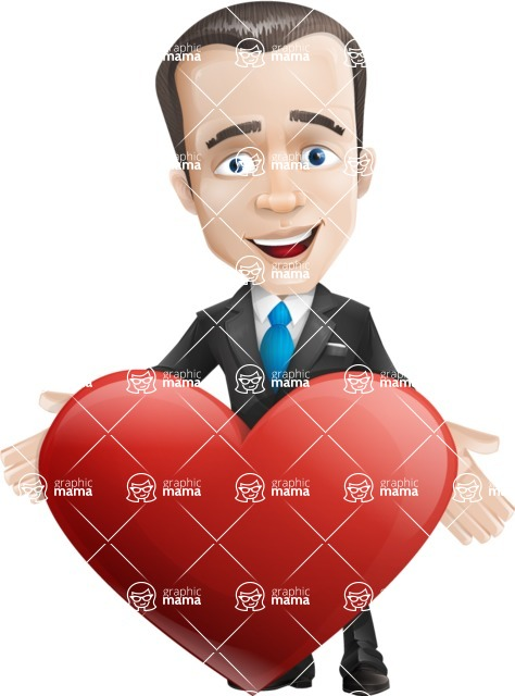 businessman vector cartoon character design modern look  - Love
