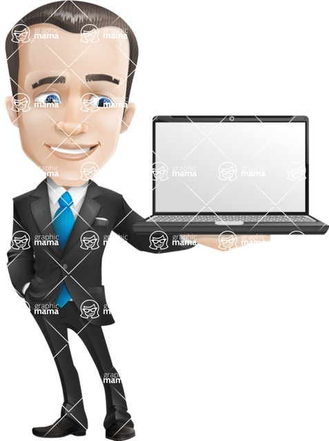 Vector Male Business Cartoon Character - Laptop2
