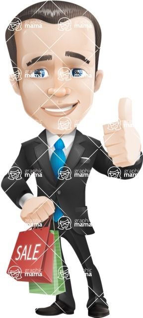 Vector Male Business Cartoon Character - Sale