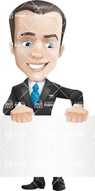 Vector Male Business Cartoon Character - Sign2
