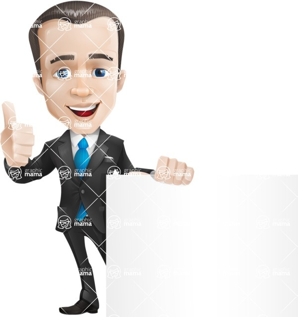 Vector Male Business Cartoon Character - Sign7
