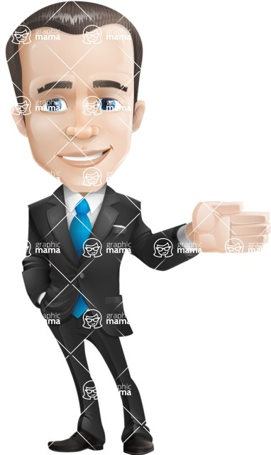 Vector Male Business Cartoon Character - Show