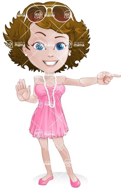 Woman in Summer Dress Cartoon Vector Character AKA Hannah - Direct Attention