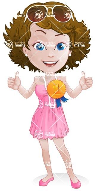 Woman in Summer Dress Cartoon Vector Character AKA Hannah - Ribbon