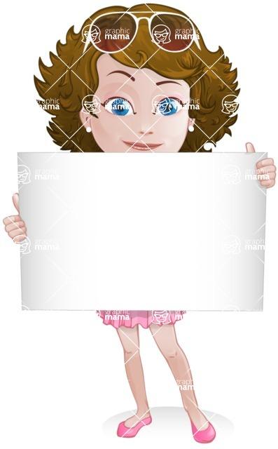Woman in Summer Dress Cartoon Vector Character AKA Hannah - Sign1