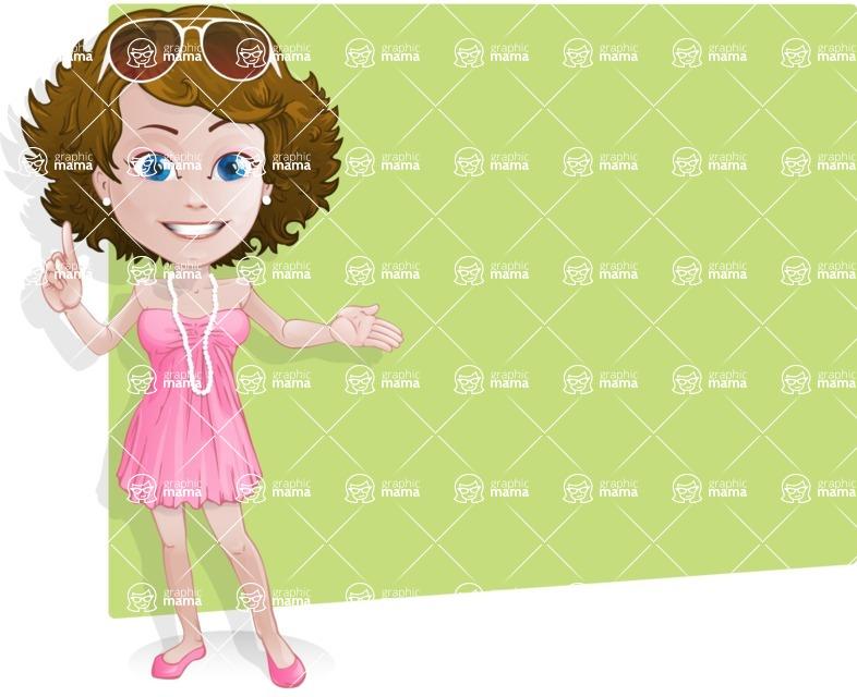Woman in Summer Dress Cartoon Vector Character AKA Hannah - Shape2