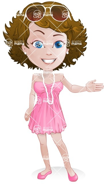 Woman in Summer Dress Cartoon Vector Character AKA Hannah - Show
