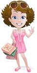 Woman in Summer Dress Cartoon Vector Character AKA Hannah - Shopping