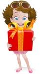 Woman in Summer Dress Cartoon Vector Character AKA Hannah - Gift