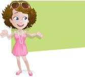 Woman in Summer Dress Cartoon Vector Character AKA Hannah - Shape1