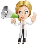 Blonde Female Doctor Cartoon Vector Character AKA Dana Physic-Care - Loudspeaker