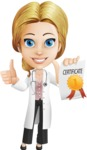 Blonde Female Doctor Cartoon Vector Character AKA Dana Physic-Care - Ribbon