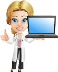 Blonde Female Doctor Cartoon Vector Character AKA Dana Physic-Care - Laptop 2