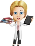 Blonde Female Doctor Cartoon Vector Character AKA Dana Physic-Care - Book vs iPad