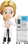 Blonde Female Doctor Cartoon Vector Character AKA Dana Physic-Care - Machine