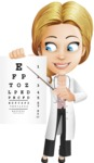 Blonde Female Doctor Cartoon Vector Character AKA Dana Physic-Care - Eye Chart