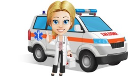 Blonde Female Doctor Cartoon Vector Character AKA Dana Physic-Care - Ambulance